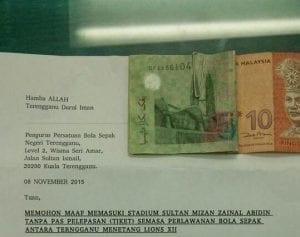 Penyokong Terengganu Bayar 'Hutang' Tiket Stadium Selepas Masuk Secara Haram