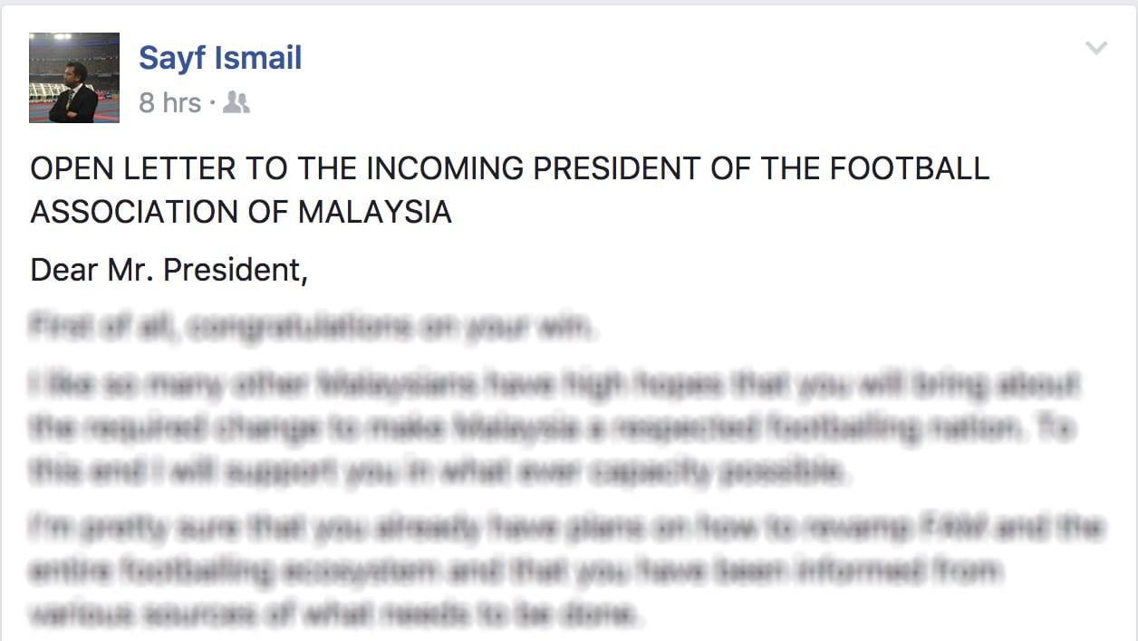 Bekas Ketua Pemasaran FAM Ini Tulis Surat Kepada Bakal Presiden Baru FAM. Ini  ...